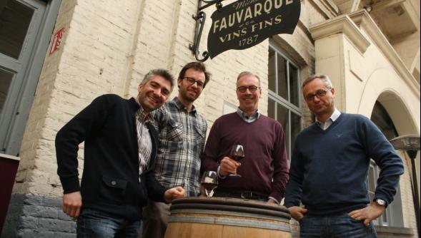 Fabien Dété, directeur des ventes, Nicolas Mathieu, fondateur d'InVinôme, Ludovic Bigo et Benoit Lepoutre, dirigeants de Cuvelier-Fauvarque depuis 2002.